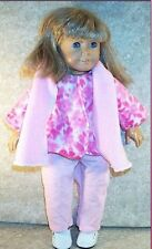"Doll Clothes fit American Girl 18""in Fleece Jacket Pants Beret' 3pcs Pink Floral"
