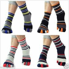 2 pairs five finger socks toe socks men's cotton Striped sports socks