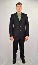 Men's Vintage 70's Designer  YSL Yves Saint Laurent 3 Piece Navy Blue Suit 36 R