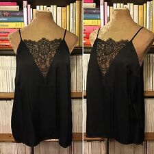OTHER STORIES black lace panel camisole viscose top blouse shirt UK 12 EU38 US 8