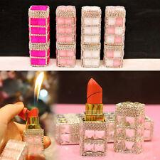 Luxury Bling White-pink Diamond Handmade Ladies Lipstick Refillable Lighter Gift