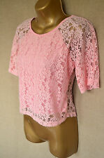 TOPSHOP Pink lace loose fit cropped top 8