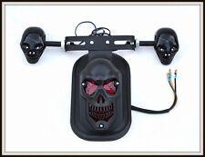 Noir Mat feu stop + support de plaque Skull  ( moto custom quad trike scooter )