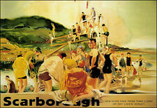 Art Ad Scarborough Beach Sceen LNER Rail Travel Railway Poster Print