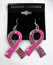 Wholesale Lot 12 Pink Ribbon Dangle Earrings Breast Cancer Awareness # 03762