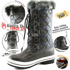 Women's Lace-Up Mid Calf Knee High Flat Fur Military Combat Hiking Snow Boots