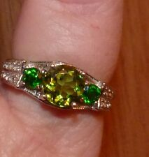 Natural PERIDOT, RUSSIAN Chrome Diopside & ZIRCON DESIGNER RING RHODIUM SIZE 10
