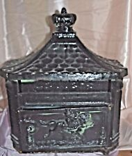 VINTAGE   CAST  IRON METAL WALL MOUNT MAIL BOX Lock & Key W SLOT