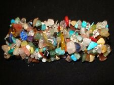 """MIXED CHAKRA CRYSTAL HEALING GEMSTONE WIDE WOVEN 7"""" CHIP STRETCH BRACELET"""