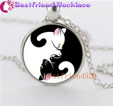 Anime Sailor Moon Yin and yang cat Necklace Glass Dome Silver Necklace