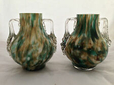 Pair of cased, handled Spatter Art Glass Vases