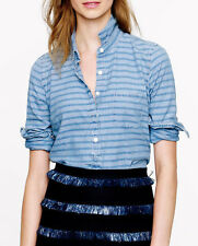 J Crew Striped Chambray Popover Shirt Blouse Top Madewell Sz 6