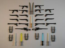 Guns for LEGO Minifigures. Lot of 39. New!! Stocking stuffer Lightsabers Swords