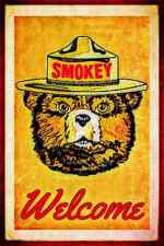 *SMOKEY BEAR WELCOME SIGN* MADE IN U.S. FOREST SERVICE LOG CABIN RUSTIC DECOR