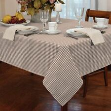 "GINGHAM CHECK BEIGE WHITE SQUARE 34X34"" 90X90CM TABLE CLOTH"