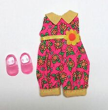 Vintage Barbie Kelly Doll Clothes Sunflower Jumper Pink & Yellow + Shoes New