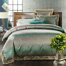Luxury 6pc. Jacquard Queen Size Silk Duvet Cover 500TC Bedding Set