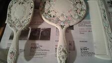 Vintage Silver Vanity Set Brush, Comb, and Mirror -Shabby Chic