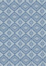 Schumacher Blue OUTDOOR Diamond Upholstery Fabric- Amazing Maze/Ocean- 0.70 yds