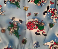sewing quilting cotton  christmas bugs bunny santa tree 1 yard fabric