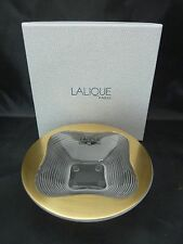 "LALIQUE COUPELLE TREFLE OR GOLD ACCENTED BOWL 4.75"" x 1.25"" NIB"