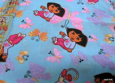 """Cotton fabric DORA Viacom butterfly aqua blue ground remnant 26"""" x 44"""""""