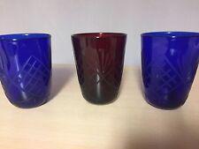 3 Römer Kristallgläser Wassergläser Saft Glas  Bleikristall Set in rot und blau