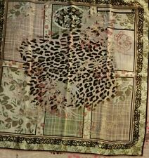 SARAR 100% Pure Silk Luxury Square Leopard Hijab Scarf 90 x 90cm Turkish Brand