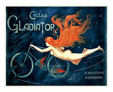 CYCLES GLADIATOR 1895 . Vintage French Poster Reproduction (Nude)