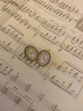 *Vintage Style Gold Cameo Clock Earrings*