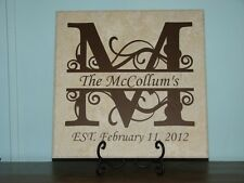 Monogram, name, Decorative Tile, plaque, sign