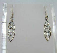 Entwined Celtic Knot Work Long Dangle Earrings 925 Sterling Silver