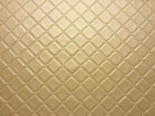 TRELLIS VINYL PVC GOLD LEATHERETTE FAUX LEATHER QUILTED FABRIC