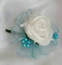 Wedding Buttonhole Ivory Rose Diamante Turquoise Ribbon & Turquoise Pearl Hoops