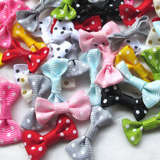 Mix 50PCS Dots Grosgrain Ribbon Bows Flowers Appliques Craft Dec Lots 30mm