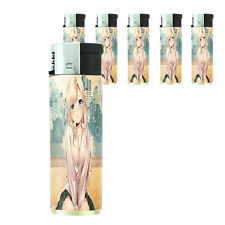 Butane Refillable Electronic Lighter Set of 5 Anime Design-009 Sexy Manga Girls