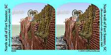 Fort Sumter Cannon Gabion Charleston Civil War SV Stereoview Stereocard 3D 02292