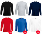 5 Pack Men's Fruit Of The Loom Long Sleeve T-Shirt Tee Top Plain Round Neck New