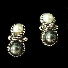 Eclipse Earrings Vintage Avon Silver Tone White Gray Faux Pearls Clip On V353