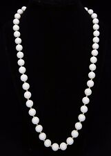 "VINTAGE SINGLE STRAND WHITE BEAD NECKLACE 12"" GOLD TONE SEPARATORS & CLASP"