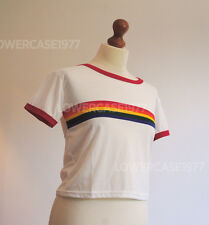 Retro Roller disco rainbow stripe semi-cropped t-shirt,- size 10 UK ,Red