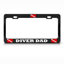 DIVER DAD License Plate Frame Heavy Metal LOVE SCUBA DIVING BLACK Tag Border