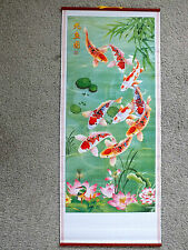 CHINESE CANE BAMBOO WALL HANGING SCROLL KOI CARP FISH PICTURE BIRTHDAY PARTY Y8