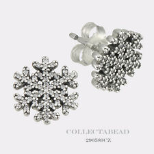 Authentic Pandora Silver Snowflake Clear CZ Stud Earrings 290589CZ