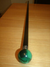 "Elegant Dress Walking Stick Emerald Colour Ball Handle Cane Silver Ring 37"" Tall"