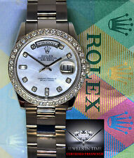 Rolex Mens Day Date 18k White Gold & Diamonds MOP Dial Watch 118209