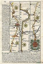 Antique map, Road from London to Boston & Lincoln