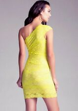 NWT Bebe lace yellow green one mixed lace floral nude cocktail top dress S small