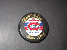 2/3 of Montreal Canadiens Punch LIne Signed Puck Maurice Richard Elmer Lach!