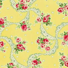 Cottage Shabby chic Cotton Fabric Mary Rose Sweet Charms MR2150-12C Yellow BTY